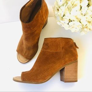 Franco Sarto Goldie Brown Peep-Toe Ankle Booties